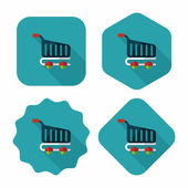 Shopping cart flat icon with long shadow,eps10 — Stock Vector
