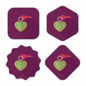 Valentine's Day lover keychain flat icon with long shadow,eps10 — Vetorial Stock