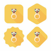 Propose diamond ring flat icon with long shadow,eps10 — 图库矢量图片