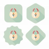 Baby bib flat icon with long shadow,EPS 10 — Stock Vector