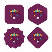 Dětská postýlka závěsné hračky ploché ikony s dlouhý stín, eps 10 — Stock vektor