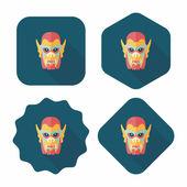 Halloween duivel platte pictogram met lange schaduw, eps10 — Stockvector