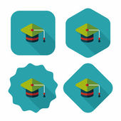 Education Cap flat icon with long shadow,eps10 — Stock Vector