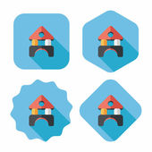 Brick house flat icon with long shadow — Stock Vector