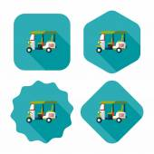 Three wheeled motor rickshaw, flat icon with long shadow — Stock Vector