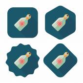 Water bottle , flat icon with long shadow — Stock Vector