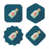 Su şişesi, uzun gölge ile düz simgesi — Stok Vektör