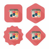 Cosmetics containers flat icon with long shadow — Stock Vector