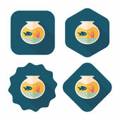Pet fish bowl flat icon with long shadow,eps10 — Stock Vector