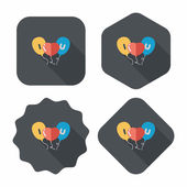 Valentine's Day ballons flat icon with long shadow,eps10 — ストックベクタ