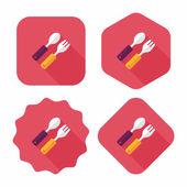 Nádobí a příbory ploché ikony s dlouhý stín, eps10 — Stock vektor