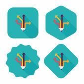 Pencil ribbon arrow flat icon with long shadow,eps10 — Stock Vector