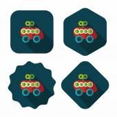 Toy car flat icon with long shadow — Stockvector