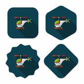 Helikopter platte pictogram met lange schaduw, eps10 — Stockvector