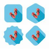 Flip flop flat icon with long shadow — Stock Vector