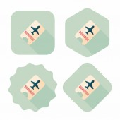 Air ticket flat icon with long shadow — Stock Vector