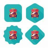 Caravan car flat icon with long shadow — Stock Vector