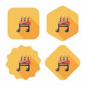 Urodziny ciasto płaskie ikona z długim cieniem, eps10 — Vector de stock