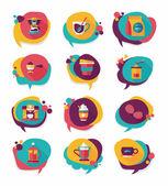 Coffee bubble speech flat banner design flat background set, eps — Stockvector