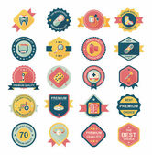 Hospital badge banner design flat background set, eps10 — Stock Vector