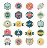 Hôpital badge bannière design fond plat ensemble, eps10 — Vecteur