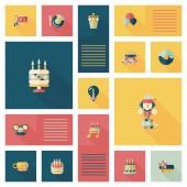 Birthday ui flat banner background set, eps10 — Vector de stock