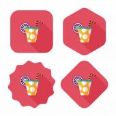 Birthday party drink flat icon with long shadow,eps10 — Stockvektor