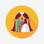 Wedding ceremony flat icon with long shadow,eps10 — Vector de stock
