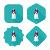 Wedding bride flat icon with long shadow,eps10 — Vector de stock