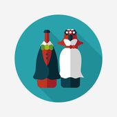 Wedding couple flat icon with long shadow,eps10 — Vector de stock