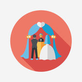 Wedding ceremony flat icon with long shadow,eps10 — Vector de stock