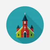 Wedding church flat icon with long shadow,eps10 — Vector de stock