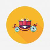 Wedding carriage flat icon with long shadow,eps10 — Stock Vector