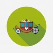 Wedding carriage flat icon with long shadow,eps10 — Vector de stock