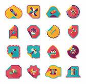 Toy sticker flat banner background set, eps10 — Stok Vektör