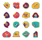 Toy sticker flat banner background set, eps10 — Vetor de Stock