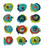Birthday bubble speech banner design flat background set, eps10 — Stock Vector