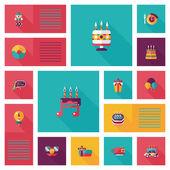 Birthday ui flat banner background set, eps10 — Stock Vector