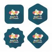Plano icono de decoración de cumpleaños con larga sombra, eps10 — Vector de stock