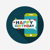 Cell phone birthday message flat icon with long shadow,eps10 — Stock Vector