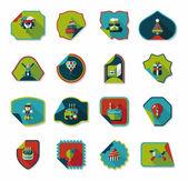 Birthday sticker flat banner background set, eps10 — Vettoriale Stock