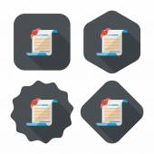 Marriage document flat icon with long shadow,eps10 — Stockvector