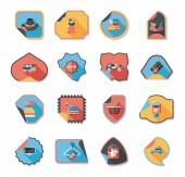 Shopping sticker banner flat design background set, eps10 — Stok Vektör