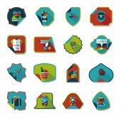Valentines Day sticker banner flat design background set, eps — Stock Vector