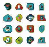 Valentines Day sticker banner flat design background set, eps — Cтоковый вектор