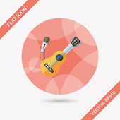 Guitar flat icon with long shadow,eps10 — Stock Vector