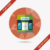 Building convenient store flat icon with long shadow,eps10 — Stockvector