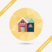 Building house flat icon with long shadow,eps10 — Cтоковый вектор