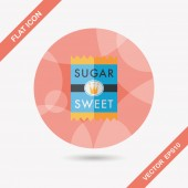 Sugar packet flat icon with long shadow,eps10 — Stock Vector