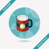Coffee latte art flat icon with long shadow,eps10 — Vector de stock